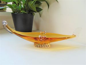 murano glass, glass gondola, murano gondola, venice glass, murano venice, amber glass, glass ashtray, gondola ashtray,