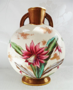 Adderley, vase, hand painted, chinoiserie, banjo shape, floral, believetobebeautiful, vintage, collectables, ceramics, porcelain,